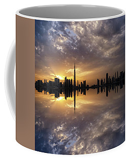 Fascinating Reflection In Business Bay District During Dramatic Sunset. Dubai, United Arab Emirates. Coffee Mug