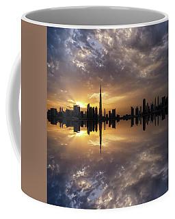 Fascinating Reflection In Business Bay District During Dramatic Sunset. Dubai, United Arab Emirates. Coffee Mug