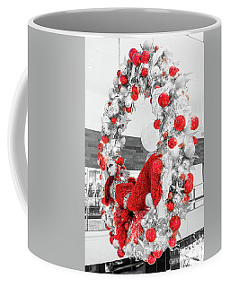 Fashion Show Christmas Wreath Bw And Red  Coffee Mug by Aloha Art