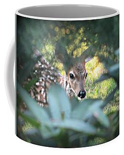 Fawn Peeking Through Bushes Coffee Mug