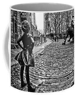 Fearless Girl And Wall Street Bull Statues 3 Bw Coffee Mug