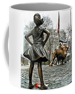 Fearless Girl And Wall Street Bull Statues 5 Coffee Mug