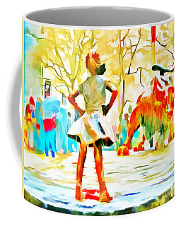 Fearless Girl And Wall Street Bull Statues 6 Watercolor Coffee Mug