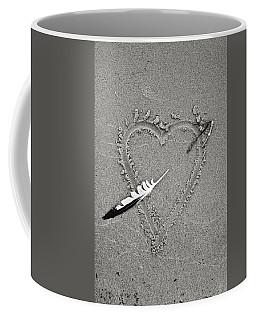 Feather Arrow Through Heart In The Sand Coffee Mug