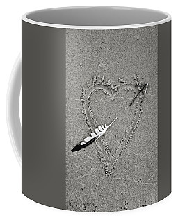 Feather Arrow Through Heart In The Sand Coffee Mug