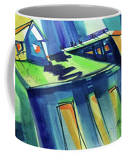 Coffee Mug featuring the painting Feedmill In Blue And Green by Kathy Braud