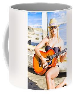 Female Beach Singer And Guitarist Coffee Mug