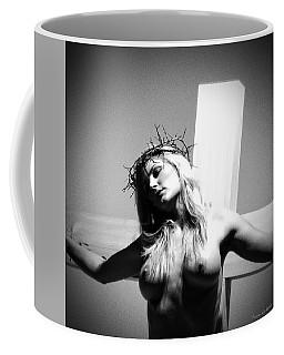 Female Christ On Cross Coffee Mug