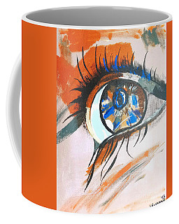 Female Human Eye - Acrylic On Canvas Coffee Mug