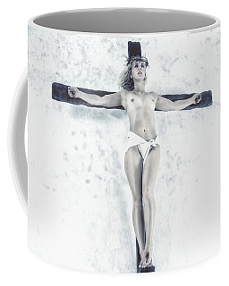 Female Jesus On Crucifix Coffee Mug