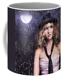 Female Moon Light Night Performer Acting In Rain Coffee Mug