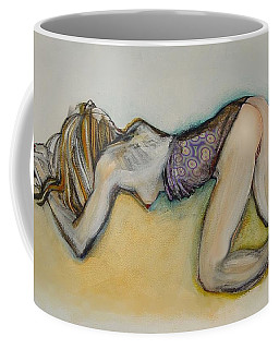 Coffee Mug featuring the painting Female Nude - Begging Beth by Carolyn Weltman