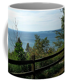 Coffee Mug featuring the photograph Fence On The Lake by Charles Robinson