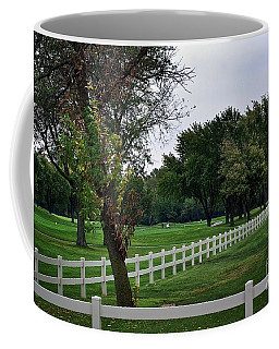 Fence On The Wooded Green Coffee Mug