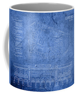 Fenway Park Blueprints Home Of Baseball Team Boston Red Sox On Worn Parchment Coffee Mug