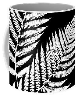 Coffee Mug featuring the mixed media Fern Pattern Black And White by Christina Rollo