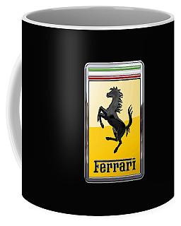 Ferrari - 3 D Badge On Black Coffee Mug by Serge Averbukh