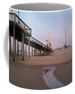 Coffee Mug featuring the photograph Ferris Wheel Reflection At Dawn by Robert Banach