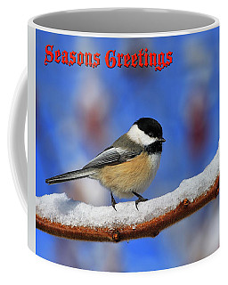 Coffee Mug featuring the photograph Festive Chickadee by Tony Beck