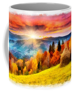 Coffee Mug featuring the painting Field Of Autumn Haze Painting by Catherine Lott