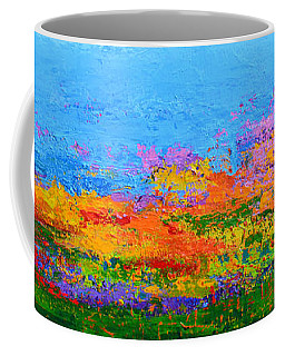 Abstract Field Of Wildflowers, Modern Art Palette Knife Coffee Mug