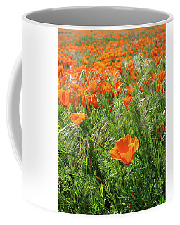 Coffee Mug featuring the mixed media Field Of Orange Poppies- Art By Linda Woods by Linda Woods