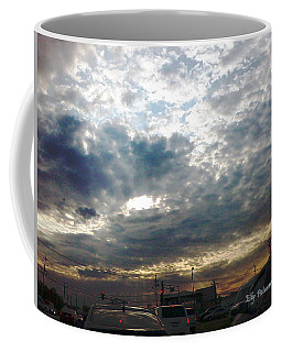 Coffee Mug featuring the pyrography Fierce Skies by Elly Potamianos
