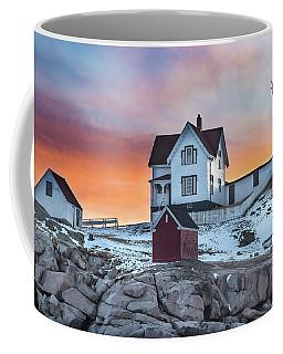 Fiery Sunrise At Cape Neddick Lighthouse Coffee Mug