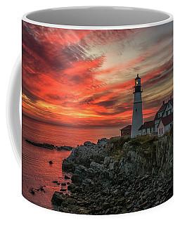 Fiery Sunrise At Portland Head Light Coffee Mug