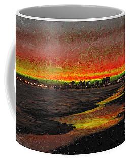 Coffee Mug featuring the digital art Fiery Sunset by Mariola Bitner