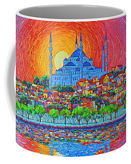 Fiery Sunset Over Blue Mosque Hagia Sophia In Istanbul Turkey Coffee Mug