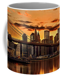 Fiery Sunset Over Manhattan  Coffee Mug