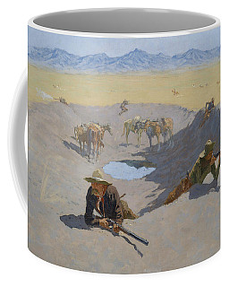 Coffee Mug featuring the painting Fight For The Waterhole by Frederic Remington