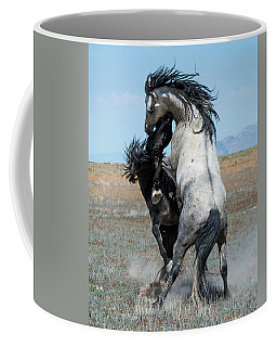 Coffee Mug featuring the photograph Fighting Black And Gray Stallions by Mary Hone