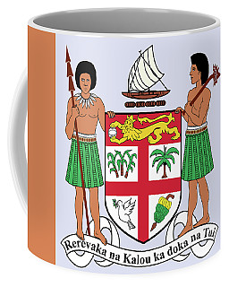 Coffee Mug featuring the drawing Fiji Coat Of Arms by Movie Poster Prints