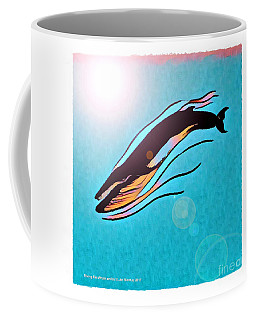 Coffee Mug featuring the digital art Finback Diving Through Krill by Art MacKay