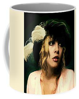 Fine Art Digital Portrait Stevie Nicks Wearing Beret Coffee Mug
