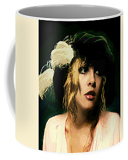 Fine Art Digital Portrait Stevie Nicks Wearing Beret Coffee Mug