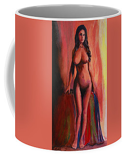 Fine Art Female Nude Jean Standing Original Multimedia Painting Coffee Mug