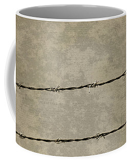 Fine Art Photograph Barbed Wire Over Vintage News Print Breaking Out  Coffee Mug