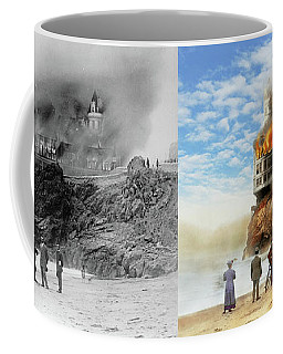 Coffee Mug featuring the photograph Fire - Cliffside Fire 1907 - Side By Side by Mike Savad