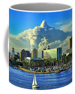 Coffee Mug featuring the photograph Fire Cloud Over Long Beach by Mariola Bitner