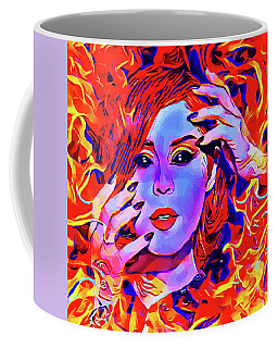 Fire Demon Woman Abstract Fantasy Dark Goth Art Coffee Mug