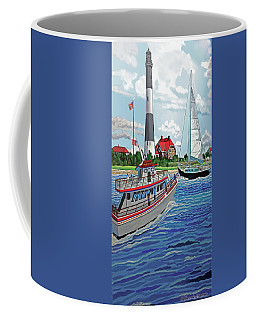 Fire Island Lighthouse And Boats In The Great South Bay Towel Version Coffee Mug