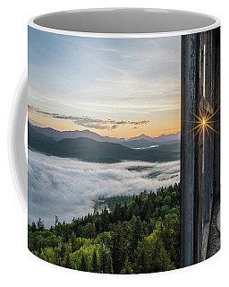 Coffee Mug featuring the photograph Fire Tower Sunburst by Brad Wenskoski