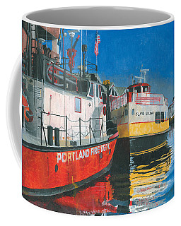 Coffee Mug featuring the painting Fireboat And Ferries by Dominic White