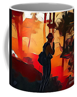 Firefighter On White Draw Fire Coffee Mug