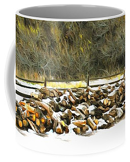 Coffee Mug featuring the photograph  Floyd Snyder by Firewood in the Snow at Fort Tejon