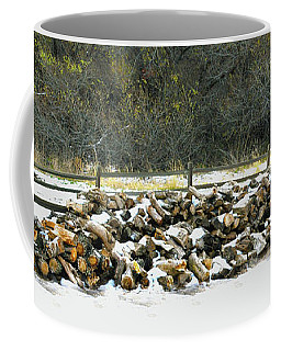 Coffee Mug featuring the photograph Firewood In The Snow At Fort Tejon by Floyd Snyder