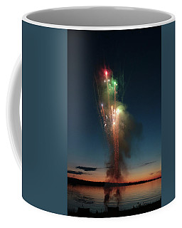 Coffee Mug featuring the photograph Fireworks After Sunset Two by Kelly Hazel